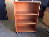 MOBILE BEECH BOOKCASE / OFFICE SHELF UNIT