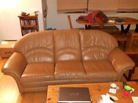Large 3 seater leather sofa and armchair