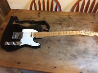 Fender Squire Telecaster, Black/white , Maple Neck, 1994 w/gig bag