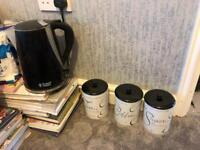 Kettle and tea, coffee, sugar canisters