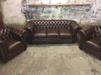 Brown Leather Chesterfield Three Piece Suite.