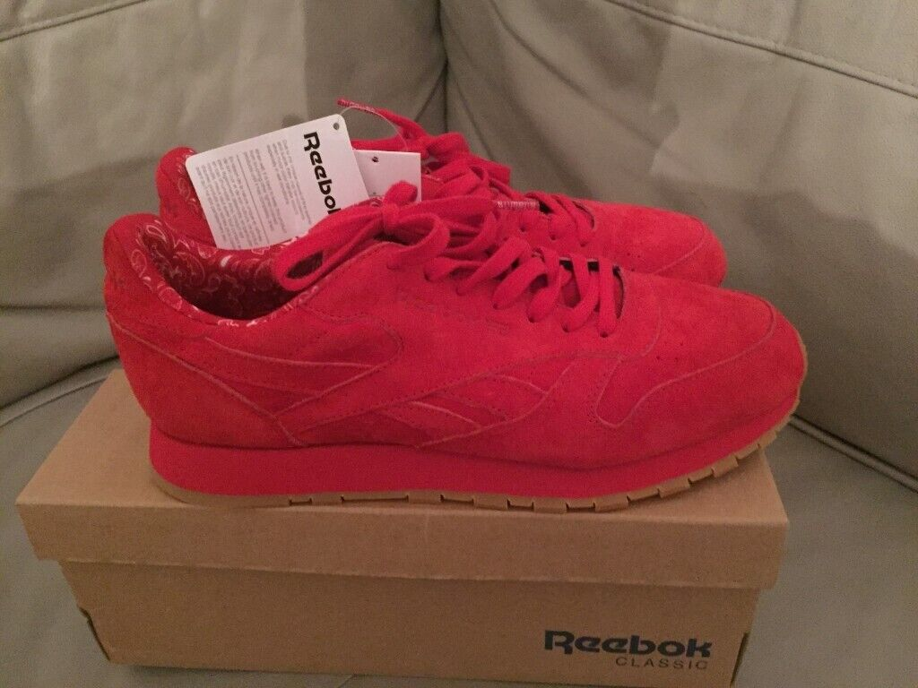 Men's size 9 red reebok paisley trainers new with box gum sole red suede | in Coulsdon, London | Gumtree