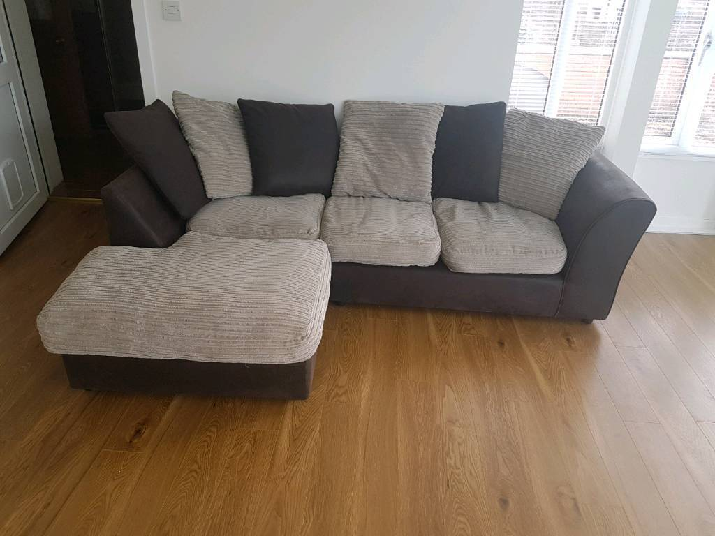 Free Local Delivery Brown And Cream Corner Sofa In