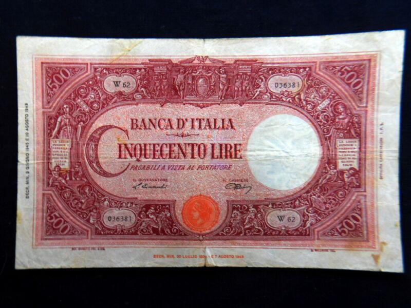 1945 ITALY (Luogotenenza) Banknote 500 Lire Barbetti VF BB