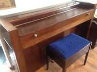 Lovely art deco piano - plays well - ideal for small flat! + stool