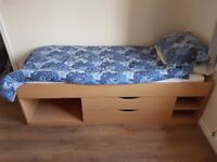 Single Cabin Bed Frame Beech Bilston Sandwell with mattress All Brand New. Never used