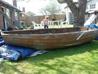 Vintage mahogany 8 ft dingy need TLC , could be made into a garden seat, arbour or planter.