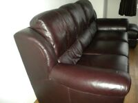 3 seater & 2 seater leather suite with poufee