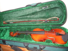 Violin in case. Quarter size DJM music Requires attention New strings and bow hair