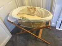 John Lewis white waffle Moses basket with wooden stand