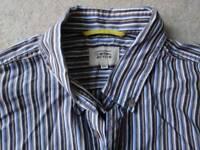 Camel Active shirt, blue/white/brown stripes, size 2XL