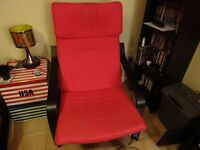 2x poang ikea chairs and footstools