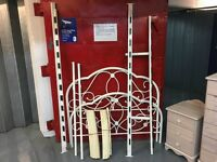 PRETTY WHITE COATED METAL 4' BED FRAME