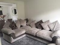 Light grey corner sofa,cuddle chair and stool