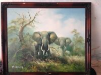 Large signed J Carley African oil painting