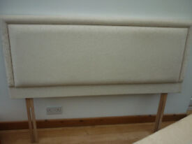5ft double divan base and headboard cream patterned material