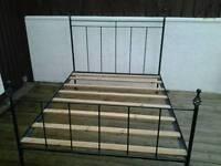 Habitat distressed double bed, heavy steel.