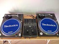 Technics 1210 mk 2 (pair) and Rane TTM56i scratch mixer with flight cases