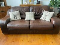 Lovely soft brown Italian leather sofa settee