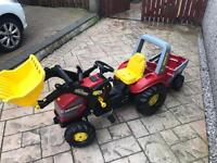 Roly Toys Red Tractor and Trailer