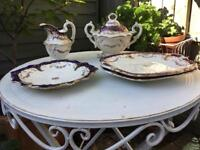 Beautiful vintage cake and sandwich plates, jug and handled pot with lid