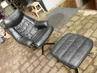 RECLINING & SWIVEL LEATHERETTE CHAIR AND FOOT STOOL