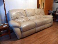 3-seater cream leather sofa Partick, good condition