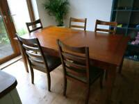Solid wood dining table and chairs (5)
