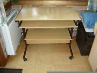 Light oak effect PC desk