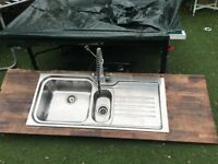 Large kitchen sink bowl and a half with tap both Franke