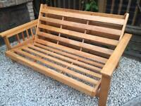 2 seater futon, wooden frame, mattress and new cover by Futon company, good condition