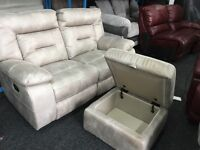 New / Ex Display LazyBoy Mink Recliner 2 Seater + Ottoman Footstool