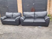 Lovely black leather sofa suite. 3 and 2 seaters. 7 month old. Good condition. Can deliver