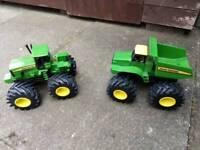 Children's Toy John Deere Tractor and Truck