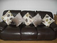 3 seater brown leather sofa with 2 recliners. Also matching brown leather electric recliner chair.