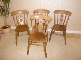 Set of 4 Genuine Antique Farmhouse Chairs