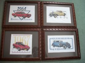4 Completed Cross stitch Pictures of Cars, Framed