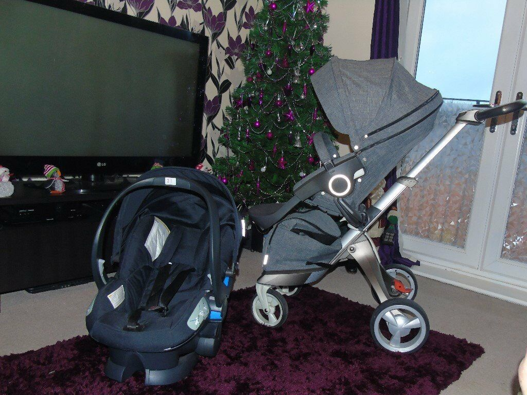 stokke xplory stroller pram with izi sleep besafe car seat and isofix base in chadderton. Black Bedroom Furniture Sets. Home Design Ideas