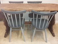Solid pine table/4 beech chairs painted grey chalk