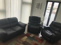 Black Faux Leather Sofa and 2 Massage Armchairs w/ Recliners