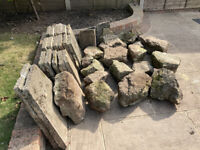 GARDEN ROCKS, PAVING/POND SLABS & HARDCORE - FREE TO COLLECTOR