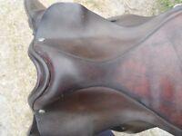 "17 1/2"" brown leather saddle"
