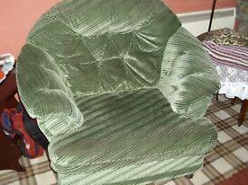 green armchair draylon very comfortable