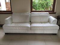 White Leather Three Seater Sofa