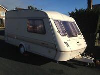 Elddis Mistral XL 2 Berth Touring Caravan, Power Cable, Spare Wheel, Ready To Go. P/X WELCOM