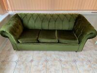 Chesterfield Velvet Sofa Settee & 2 Chesterfield Queen Anne Wing Back Velvet Chairs