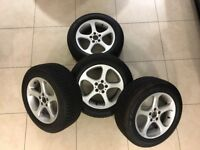 BMW X5 SET OF 4 GENUINE BMW ALLOY WHEELS FITTED WITH TOYO WINTER TYRES