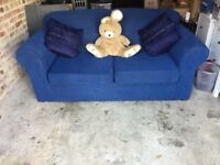 Blue pull out double sofa bed