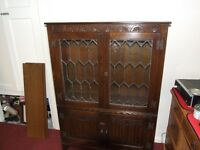 Jaycee Linen Fold Oak Leaded door Bookcase Display Cabinet