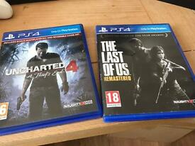 Uncharted 4 and the last of us for PS4
